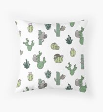 Cacti Sloths Throw Pillow