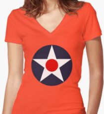 USAAC Historical Roundel 1919-1941 Women's Fitted V-Neck T-Shirt