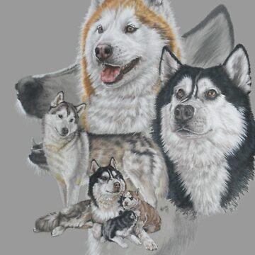 Siberian Husky Medley by BarbBarcikKeith