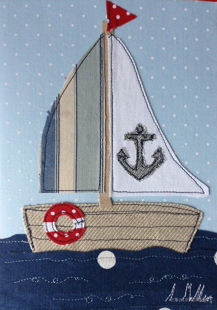 Sailing boat Machine stitched by Leatextileart