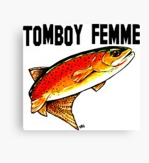 Tomboy Femme Fishing Yellowstone Cutthroat Trout Fly Rocky Mountains Fish Char Jackie Carpenter Art Gift Girl Wife Mother's Day Sister Tomboy's Mom Best Seller Canvas Print