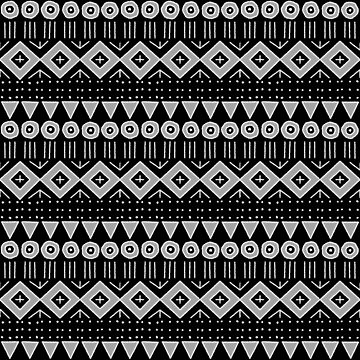 Mudcloth Style 2 in Black and Gray by MelFischer