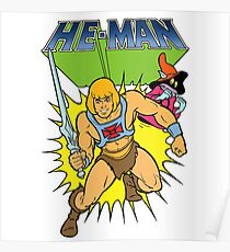 He-Man the most powerful man in the universe and Orko the magician with logo Poster