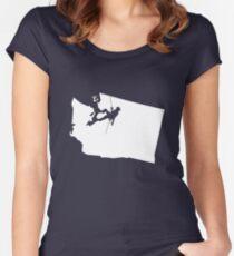 Washington State Klettern Tailliertes Rundhals-Shirt