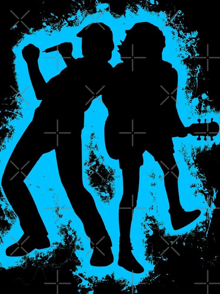 Musicians concert lightblue and black silhouette by VincentW91