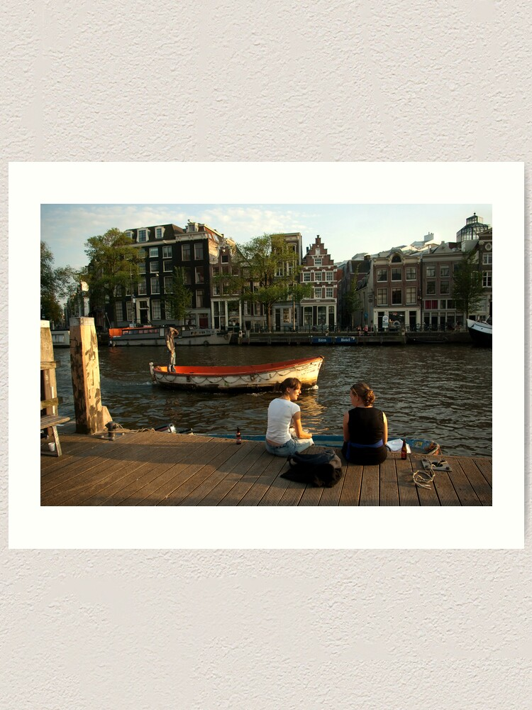 Alternate view of Two young women and a boatman Art Print