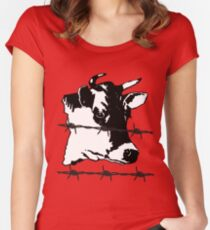 Cow. Barbed-Wire, Black and White Design. Dabbing Wire! Women's Fitted Scoop T-Shirt