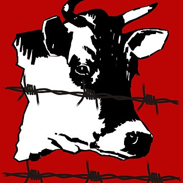 Cow. Barbed-Wire, Black and White Design. Dabbing Wire Graphic T-Shirt by kevinobrien