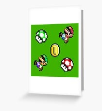 Super Mario World / Luigi & Mario / Green Greeting Card