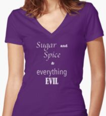 """sugar and spice & everything EVIL"" Women's Fitted V-Neck T-Shirt"