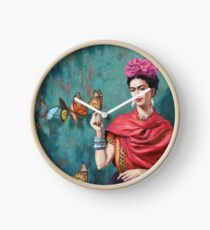 Frida Kahlo and Butterfly Clock