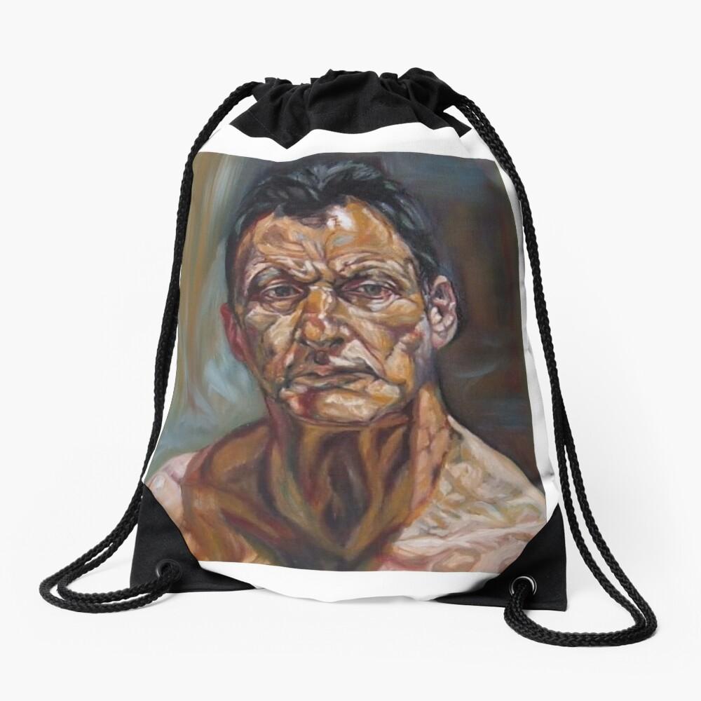 self-portrait after Lucian freud  Drawstring Bag