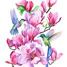 Hummingbirds in Magnolia Tree by Anna Bucciarelli