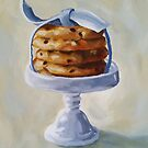 Chocolate Chip Cookies on a Pedestal still life kitchen art dessert by Pamela Burger