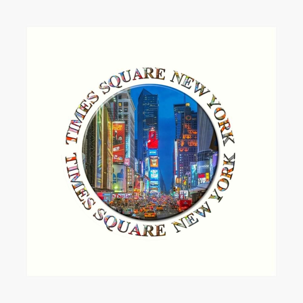 Times Square Broadway (New York Badge Emblem on white) Art Print