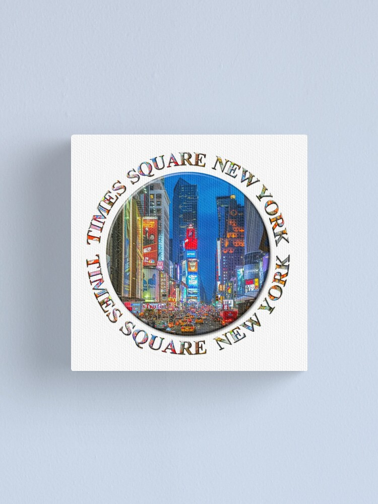 Alternate view of Times Square Broadway (New York Badge Emblem on white) Canvas Print