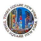 Times Square Broadway (New York Badge Emblem on white) by Ray Warren