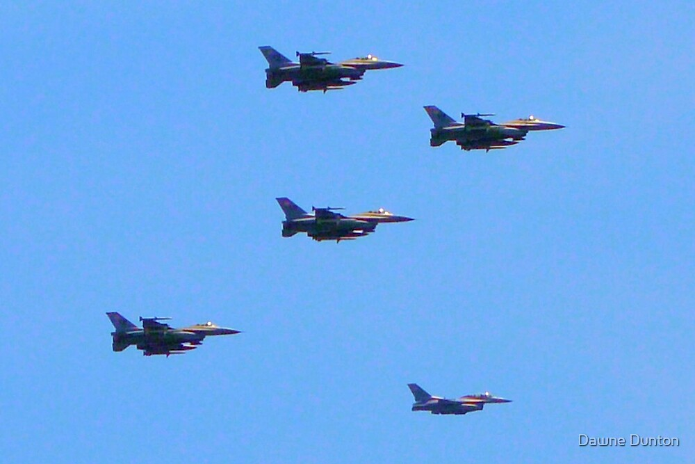F-16 Fighting Falcons July 4th Flyover by Dawne Dunton