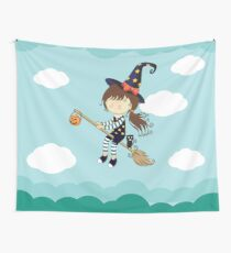 Cute Little Witch Flying In The Sky Comic Design Wall Tapestry