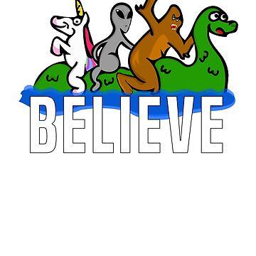 Bigfoot Unicorn Alien Riding Loch Ness Monster Believe by wrestletoys