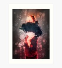Digitally enhanced image of a young Gothic teen hiding behind a black feathered fan  Art Print