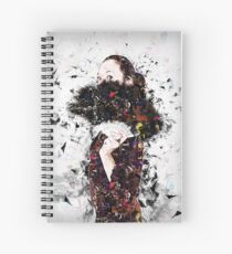 Digitally enhanced image of a young Gothic teen hiding behind a black feathered fan Spiral Notebook