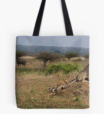 Cheetah Family And Rhinos Tote Bag