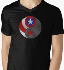 Winter Cap Yin Yang Men's V-Neck T-Shirt