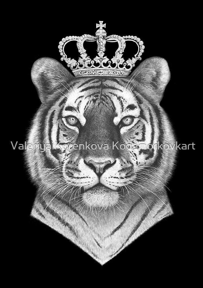 The Tiger King on black by Valeriya Korenkova Kodamorkovkart