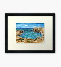 Watercolor sea of Cyprus Framed Print