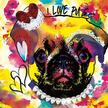 I love pugs - funny pug in color by MMchen
