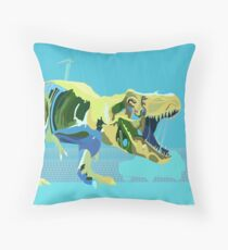 Aquamarine T-rex Throw Pillow