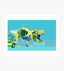 Aquamarin T-Rex Kunstdruck