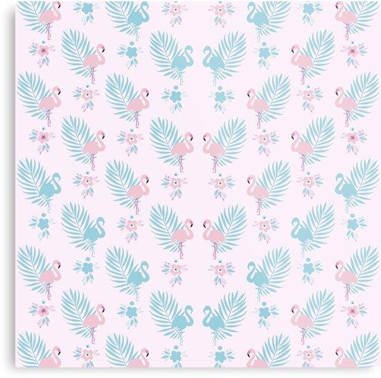 Pretty Pastel Flamingo Chevron Pattern - Pink and Blue  by Dominiquevari