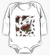Red flowers with green, black and white leaves seamless pattern One Piece - Long Sleeve