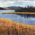 Nestucca River Oregon Pastel Painting by Chriss Pagani