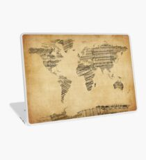 Map of the World Map from Old Sheet Music Laptop Skin