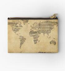 Karte der Weltkarte aus alten Noten Täschchen