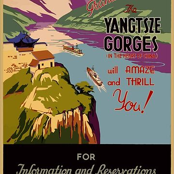 Vintage Yangtsze Gorges China Travel Poster by G-Design