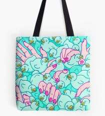 Rubber ducks pool - pop surreal psychedelic pattern surrealist creepy sexy art illustration pink blue Tote Bag