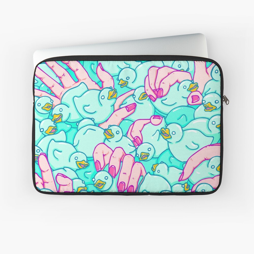 Rubber ducks pool - pop surreal psychedelic pattern surrealist creepy sexy art illustration pink blue Laptop Sleeve