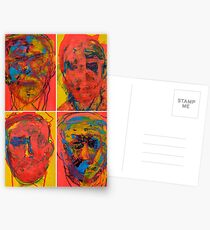 Grid of 3 Faces Merged into 4 Separate Portraits Postcards