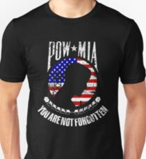 POW MIA American flag you are not forgotten distressed design Unisex T-Shirt