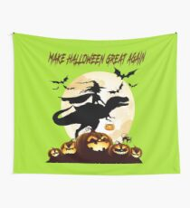 Funny Witch Riding Dinosaur Halloween Shirt-New Halloween gifts Idea Wall Tapestry