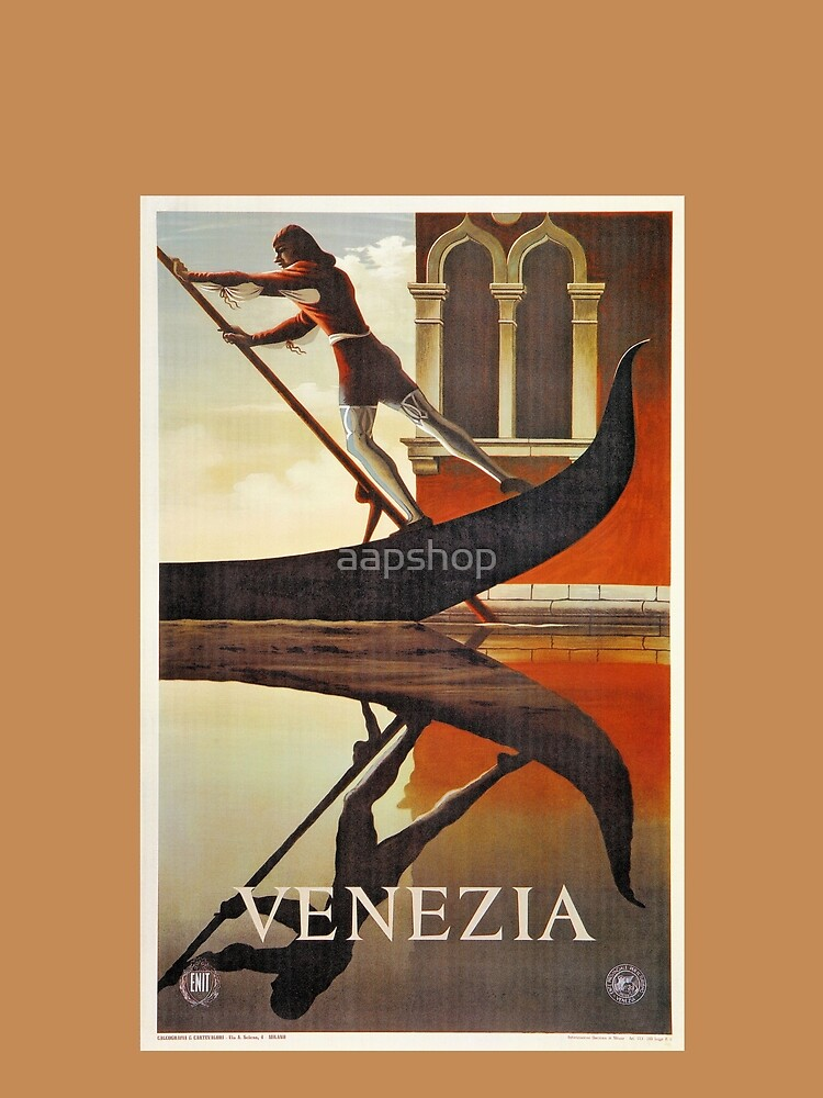 Vintage Venice Italy travel advert, gondola by aapshop