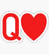 Q (heart) Queen of Hearts Design Sticker