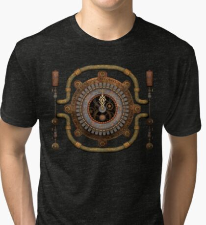 Steampunk Vintage Clock, Pipes and 'Stuff' Tri-blend T-Shirt