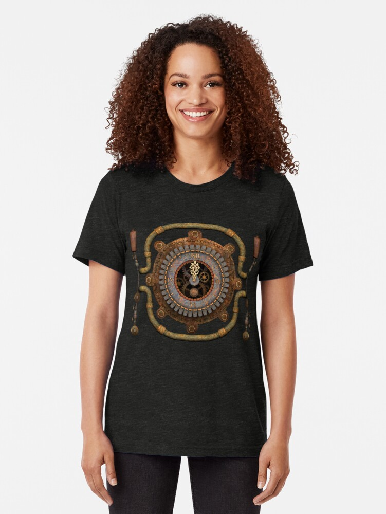 Alternate view of Steampunk Vintage Clock, Pipes and 'Stuff' Tri-blend T-Shirt