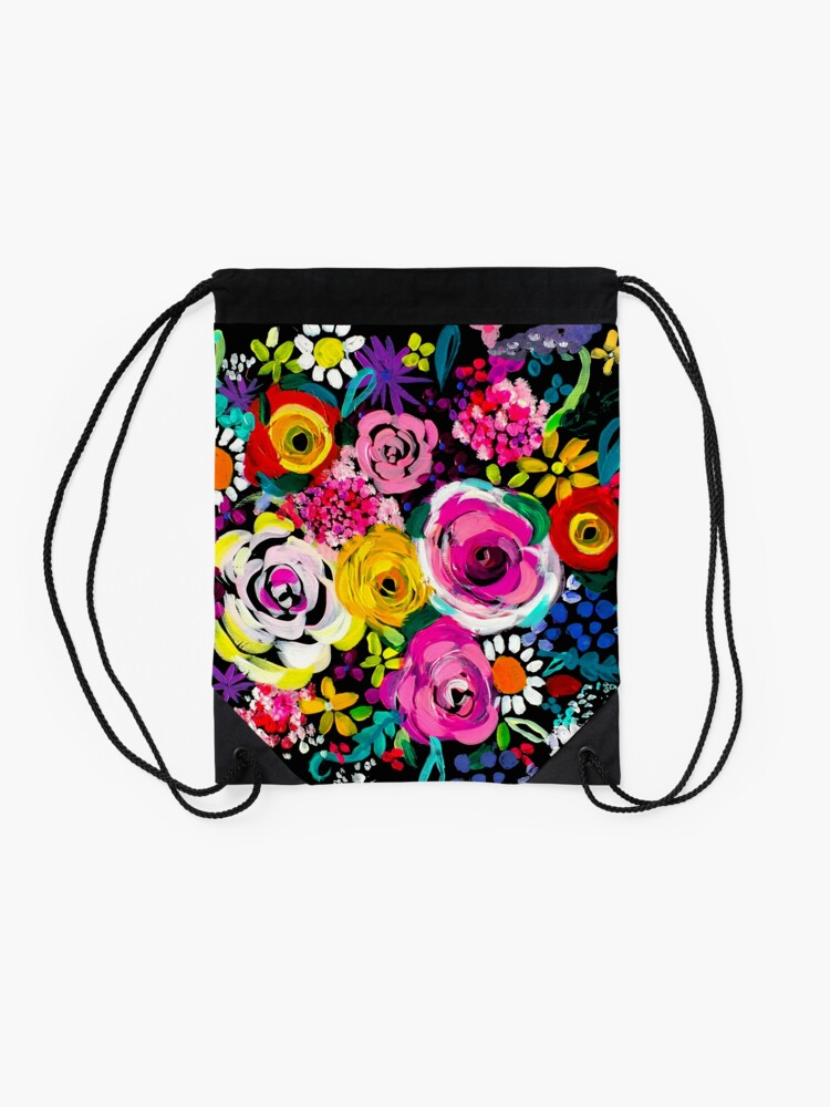 Alternate view of Les Fleurs Vibrant Floral Painting Print Drawstring Bag