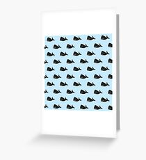 Cute Little Navy Blue Whale Pattern on Pastel Blue Greeting Card